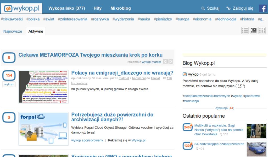 Bankier.pl na stronie głównej Wykopu