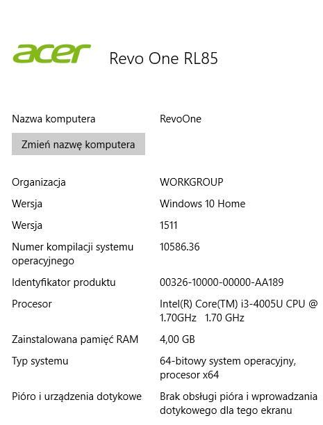 Revo One RL85 specyfikacja